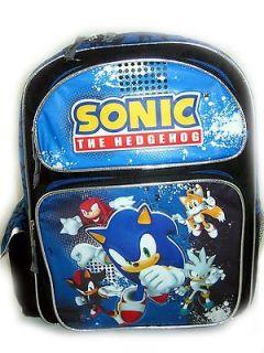 Sega Sonic The Hedgehog Tails Knuckles Silver Large Backpack Bag tote