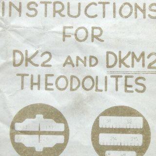 VTG Kern Instruments Instructions DK2/DKM2 swiss Theodolite manual