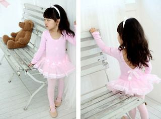 Girls Pink Party Leotard Ballet Dance Fairy Costume Dress Tutu Skirt