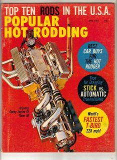 Popular Hot Rodding Car Magazine Apr 1963 Drag Race Chevy Engine Stock
