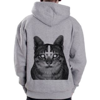 Inverted Cross Kitten animal symbol goth punk Grey Zip Hoodie Hoody