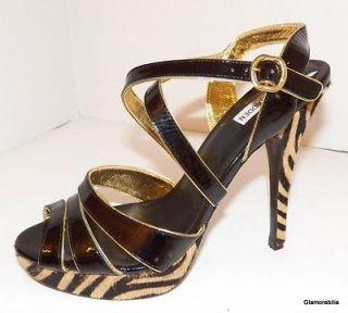 STEVE MADDEN Sweetee Black, Gold Patent Leather, Zebra Fur Platform