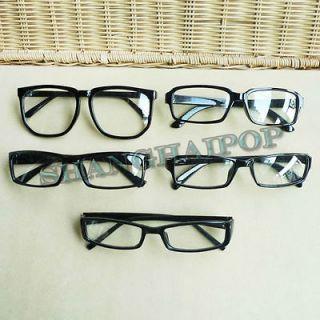 Slim/Large Glasses Glossy Black Frame Clear Lens Nerd Geek Eyewear