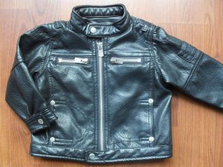 BABY K MYLEENE KLASS BOYS BLACK FAUX LEATHER BIKER JACKET 2 3 YEARS
