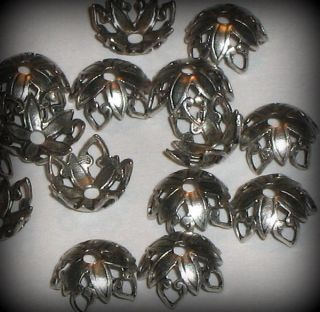 12 Sterling Silver Plated Open Tip Petal Bead Caps (bcs7vjst190)