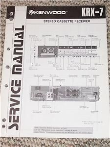 Kenwood KRX 7 Stereo Cassette Receiver Service/Repair Manual