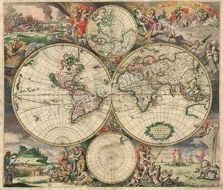 1689 interesting historic old world map 24x28