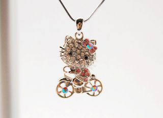 new hello kitty a bicycle swarovski necklace pendant returns accepted