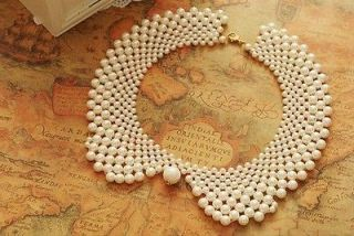 Vinage Lady Party Banquet White Pearl Beads False Collar Necklace
