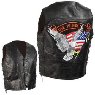 hand sewn pebble grain leather motorcycle biker vest