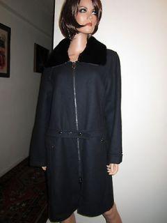 Voyage by Marina Rinaldi Italy Black Wool Coat w/ Rabbit Collar 12