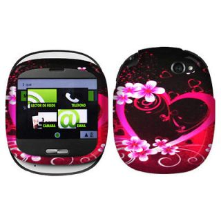 New For Sharp Kin One Cell Phone Purple Love 2D Silver Protector Case