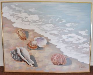 Lee Reynolds Contemporary Beach Scene Oil Painting signed 60s/70s