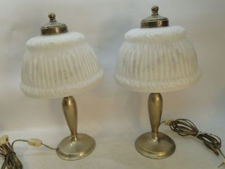 PAIRPOINT REVERSE PAINTED BOUDOIR LAMP PAIR LAMPS SIGNED SHADE BASE