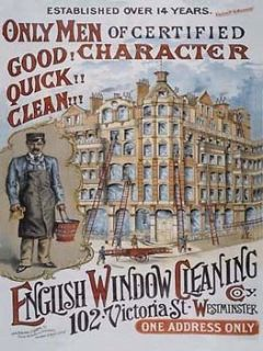 Window Cleaning Metal Sign, Victorian Westminster, Retro Kitchen Decor