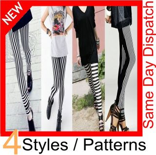 New Womens Black & White Striped Stretch Pattern Leggings Zebra Pants
