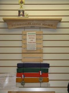 Personalized Maple Martial Arts Ar Shelf Belt Display Rack, Karate