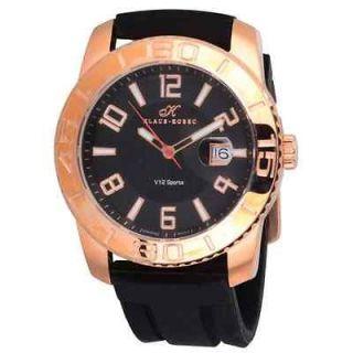Klaus Kobec Mens Black Silicon Strap V12 Sports Watch Copper Coloured