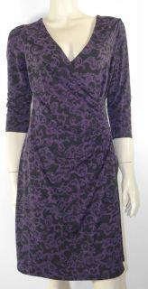 LAURA ASHLEY PURPLE/BLACK STRETCH DRESS CROSS OVER V NECK FRONT 3/4