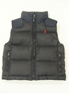 New with tag NWT Ralph Lauren Boys Charcoal Black Polo Down Vest