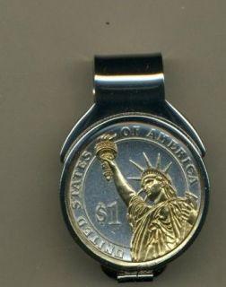 Washington Dollar Coin Reverse Spring Loaded Money Clip Gold Silver