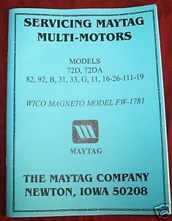 Maytag Gas Motor Engine Service Book Parts Manual & Serial # List