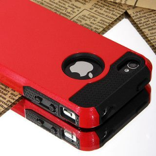 Pen+Red Rugged Rubber Matte Hard Case Cover For iPhone 4G 4S w/ Screen