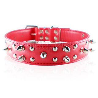 18 22 red leather spiked spikes studded dog collar large