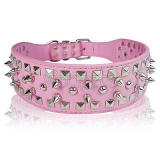 19 22 pink leather spiked dog collar large spikes l