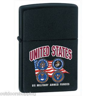 US MILITARY ARMED FORCES AUTHENTIC ZIPPO   Refillable Fluid Lighter