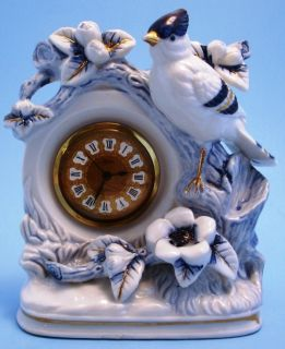 Linden Blue & White Porcelain Mantel Clock Blue Jay Bird Flowers