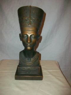 Vintage Marwal Head Bust Figure Queen Nefertiti In Bronze Finish
