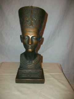 Vintage Marwal Head Bust Figure Queen Nefertiti In Bronze Finish
