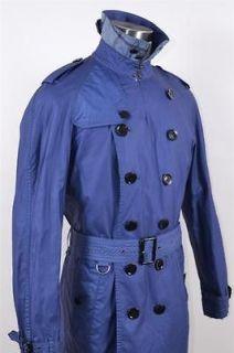 NWT BURBERRY BRIT MENS #57 BLUE NOVA CHECK MILITARY RAIN TRENCH COAT