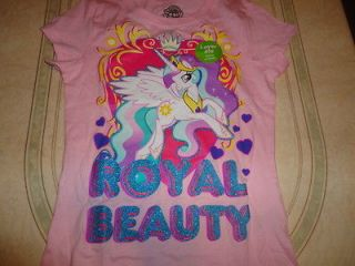 MY LITTLE PONY PINK T  SHIRT SIZE 7/8 NEW W/ GLITTER ROYAL BEAUTY