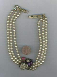 Vintage Three Strand Faux Pearl Moonglow Beads Choker Necklace