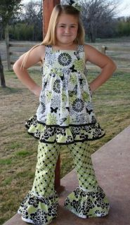 Custom Boutique Girls Butterfly Kisses Top & Pant Set 2345678 10