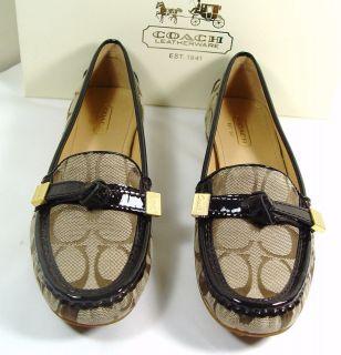 coach frida signature khaki chestnut loafer flats 5 11