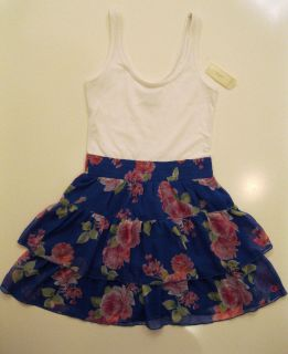 NWT Gilly Hicks Abercrombie Floral Sheer Summer/Spring Dress Blue
