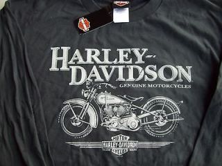 NWT Mens Harley Davidson Long Sleeve LS Dark Grey T Shirt XL
