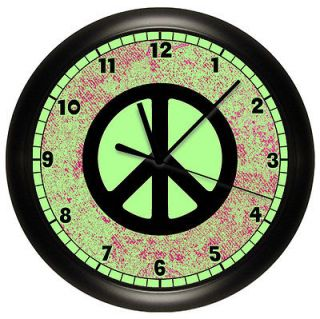 LIME GREEN AND PINK PEACE SIGN WALL CLOCK BLACK GIRLS BEDROOM DECOR