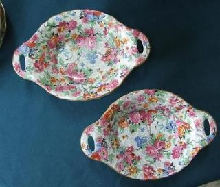 TWO Lord Nelson Ware MARINA Oval Nut Dishes w Handles MINT Chintz 5 7