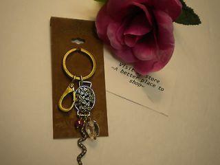 lucky brand key fob oval flower snake 2 tone nwt