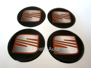 Stickers Decal Wheel Center Caps 4pcs 60mm Black IBIZA TOLEDO LEON
