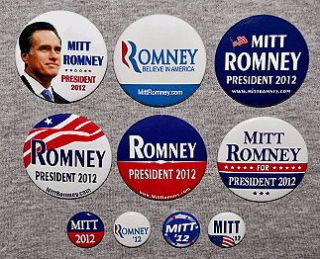Mitt Romney President 2012 TEN Buttons Pins Republican GOP Tea Party