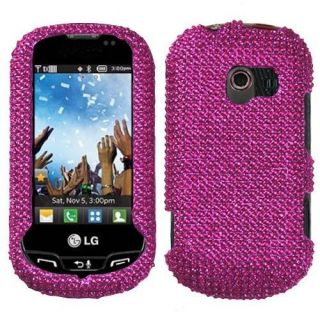For LG Extravert Crystal Diamond BLING Hard Case Phone Cover Hot Pink