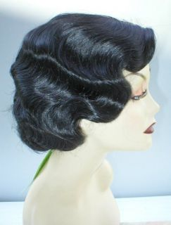 fingerwave quality wig skin top rose off black 1930 s
