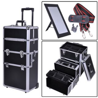 Aluminum Rolling Makeup Cosmetic Train Case 38 Lockable Wheeled Box