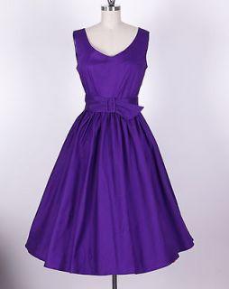 50s Audrey Hepburn Style Purple Dress Size 1X Pinup Vintage Swing