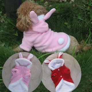 Fleece BUNNY Rabbit Dog Costumes Hoodie Coats Dog Clothes Pet Supplies
